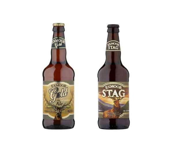 Bottles of Exmoor Gold and Exmoor Stag ale