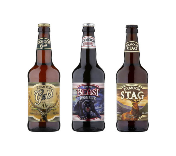 500ml bottles of Exmoor Gold, Beast and Stag