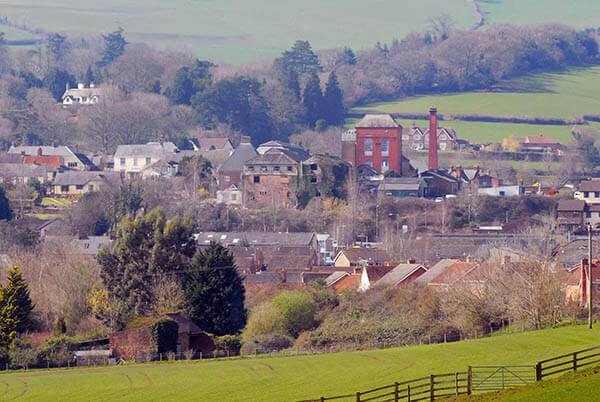 View down to Wiveliscombe from the hills
