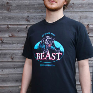 Man wearing a black t-shirt with Exmoor Beast artwork on it