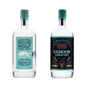 Bottles of Wicked Wolf Gin and Exmoor Gold Gin