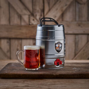 Mini cask of Exmoor Ale with a full tankard of ale