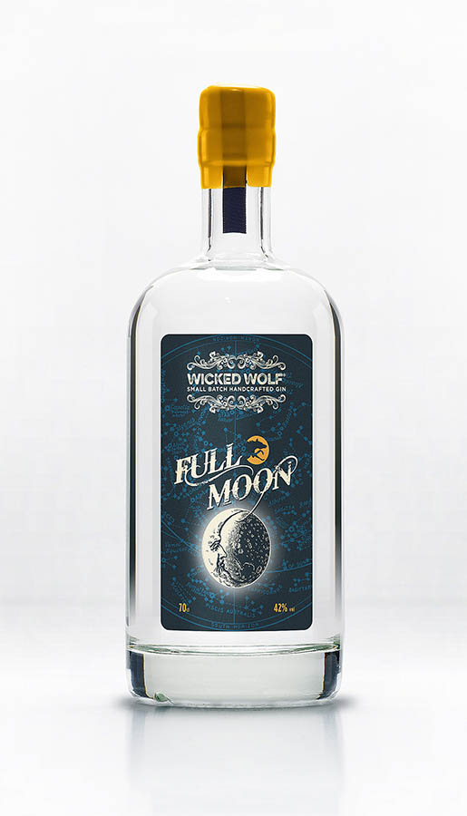Bottle of Full Moon Gin by Wicked Wolf Gins