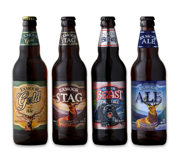 Four bottles, Exmoor Gold, Stag, Beast, and Ale