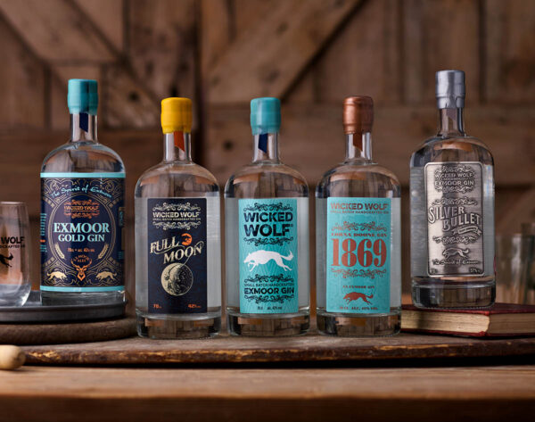 Five bottles in the Wicked Wolf Gin range