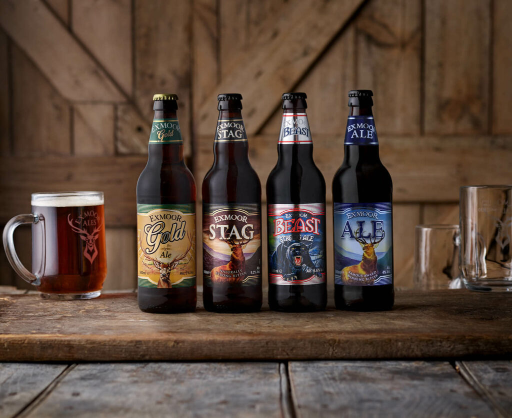 Bottles of Exmoor Gold, Stag, Beast, and Exmoor Ale