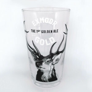 Empty Exmoor Gold pint glass
