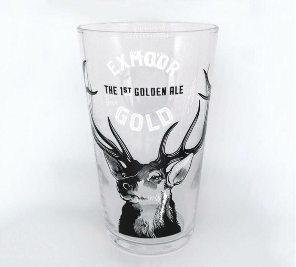 Empty Exmoor Gold pint glass
