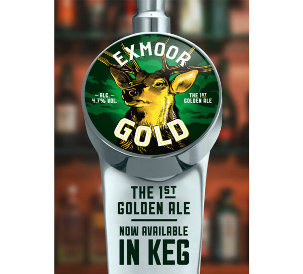 Keg pump clip for Exmoor Gold beer