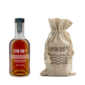 20cl bottle of Devon Rum with a hessian gift bag